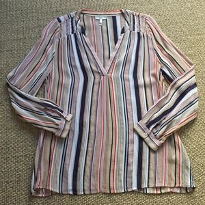 Breezy Pure Silk Striped Rose Navy Tunic Joie S